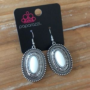 NWT-Antique Silver Fishhook Earrings w/White Inlay